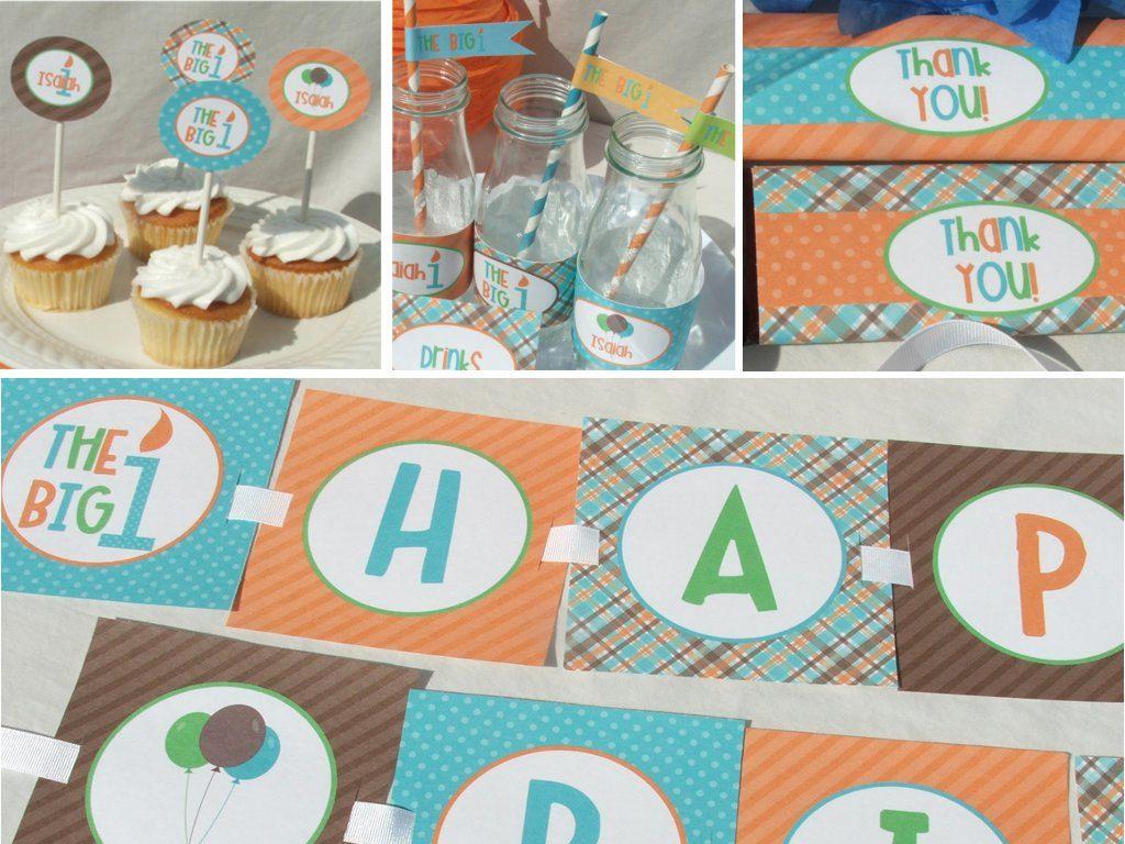 Boy First Birthday Invitation 1st Printable orange aqua blue brown