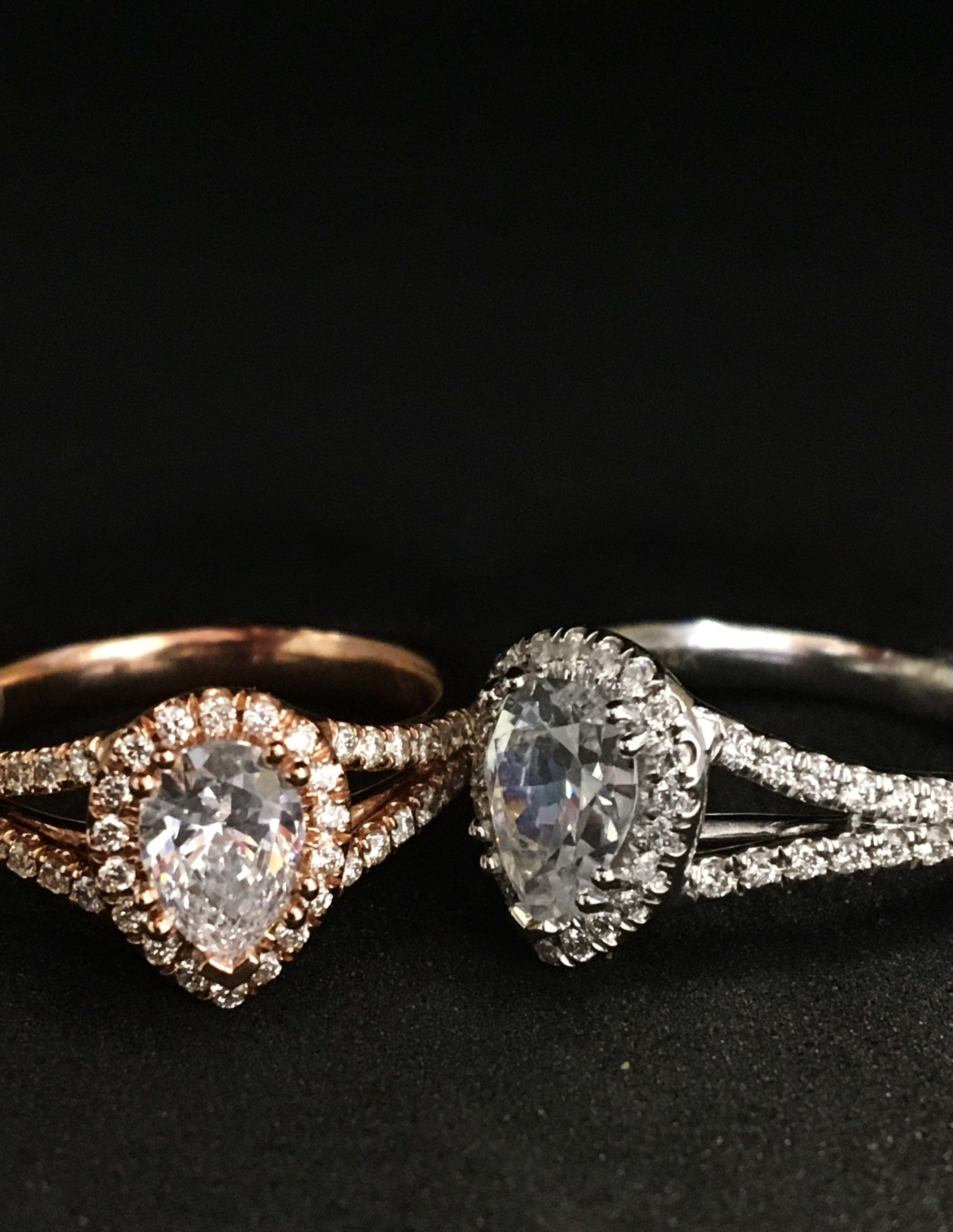 Split shank pear diamond engagement rings the bachelor d geller