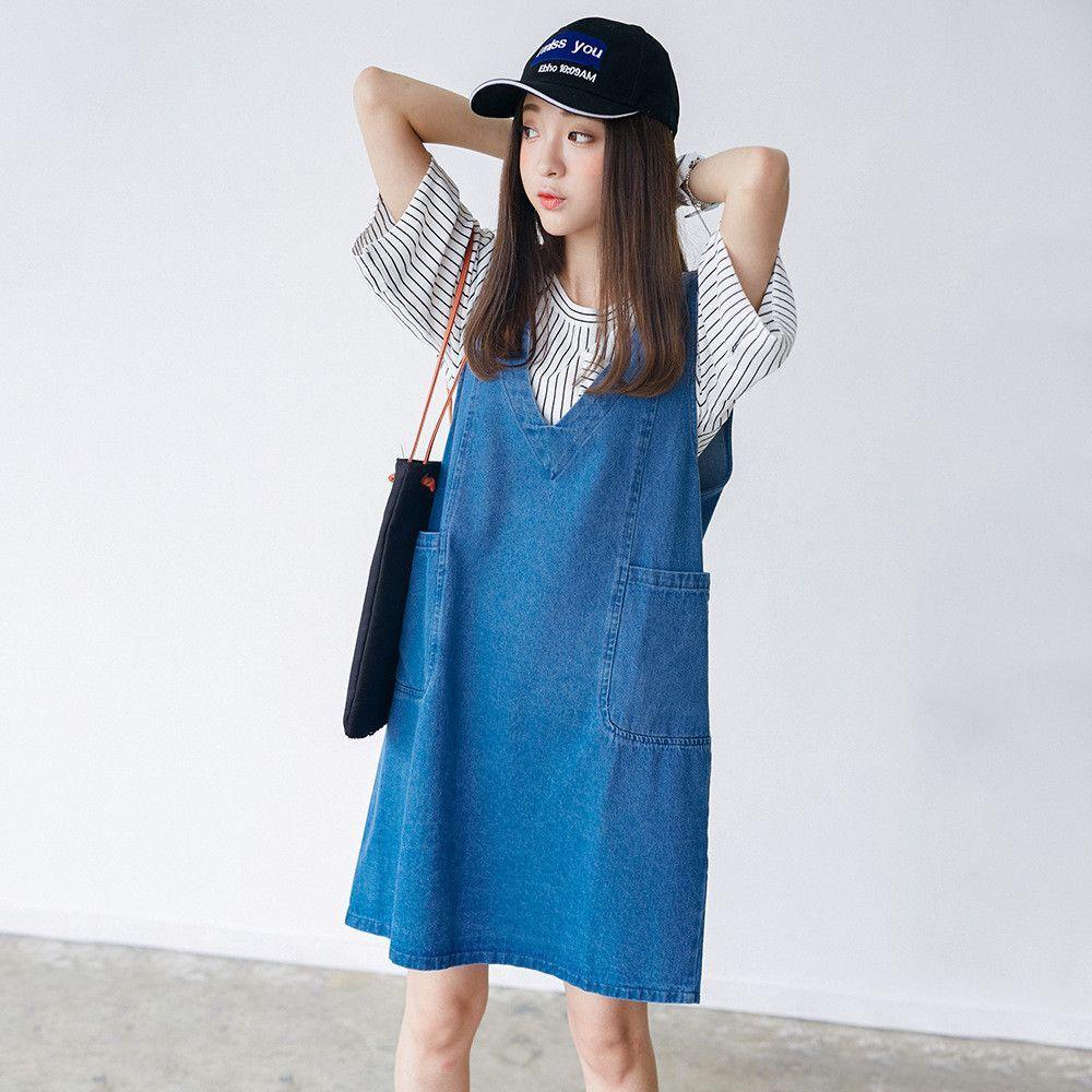 Korean Fashion - Denim dress | Outfits | Pinterest