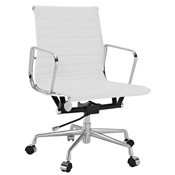 Charles Office Chair In White Genuine Leather In 2020 Adjustable Office Chair High Back Office Chair Swivel