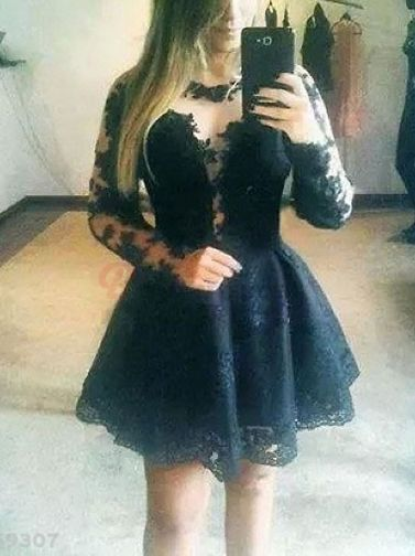 Attractive O-Neck Full Sleeve Nipped Waist Lace Patchwork Petal Hem A-Line Women Sexy Dress on buytrends.com