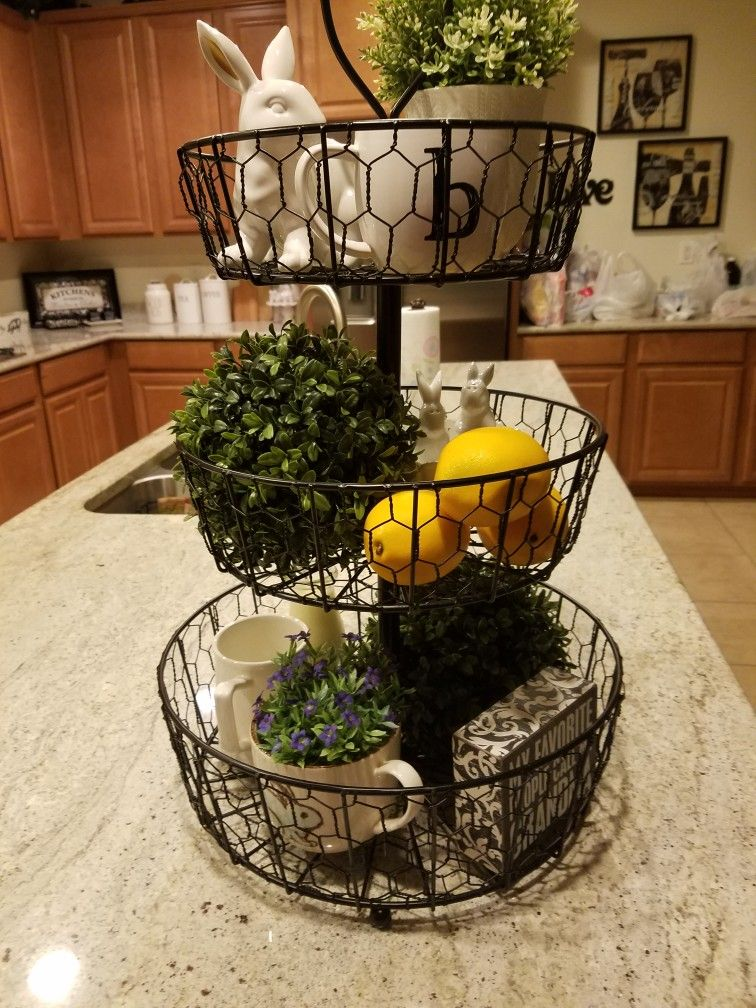 Pin By Jan Bumann On Tiered Up Kitchen Tray Decor Wire Basket
