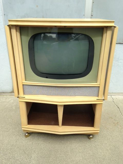 1950s TV Cabinet W/ Working Television Mid Century Console Vintage 50s