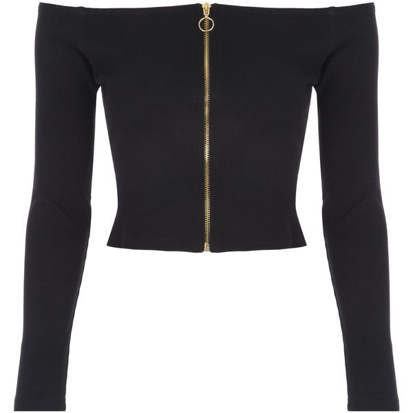 8a3ef03a8393b Black Zip-Up Rib Crop Top ( 21) ❤ liked on Polyvore featuring tops ...