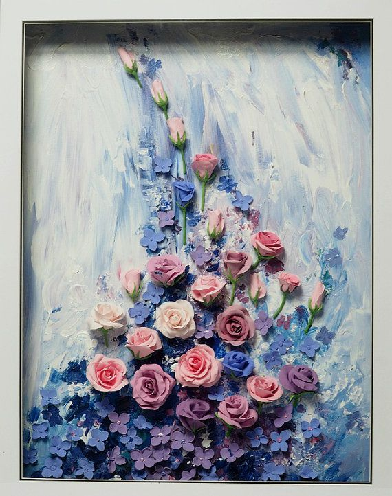 3d Flower Clay Paintings Painting Clay Flowers Acrylic Painting Canvas