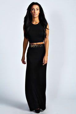 Helena Black Jersey Maxi Skirt at boohoo.com