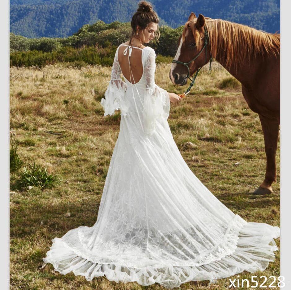 Bohemia boho wedding dress deep v neck country bridal gown fairy
