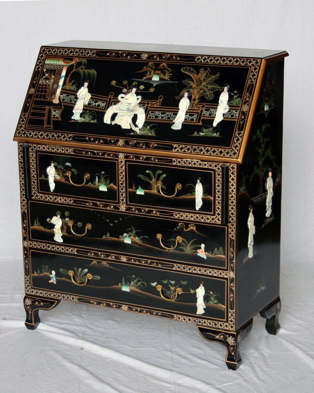 Black laquer asian desk table