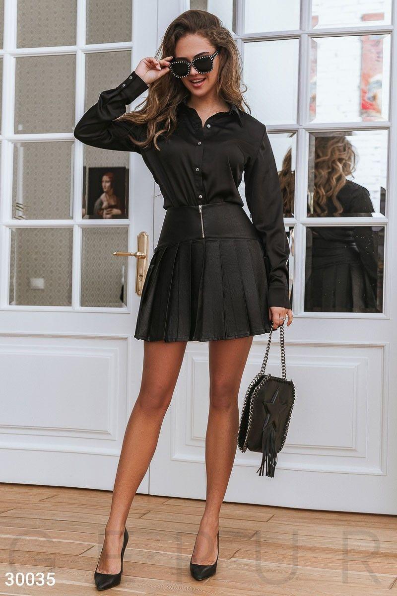 черная юбка в складку короткая