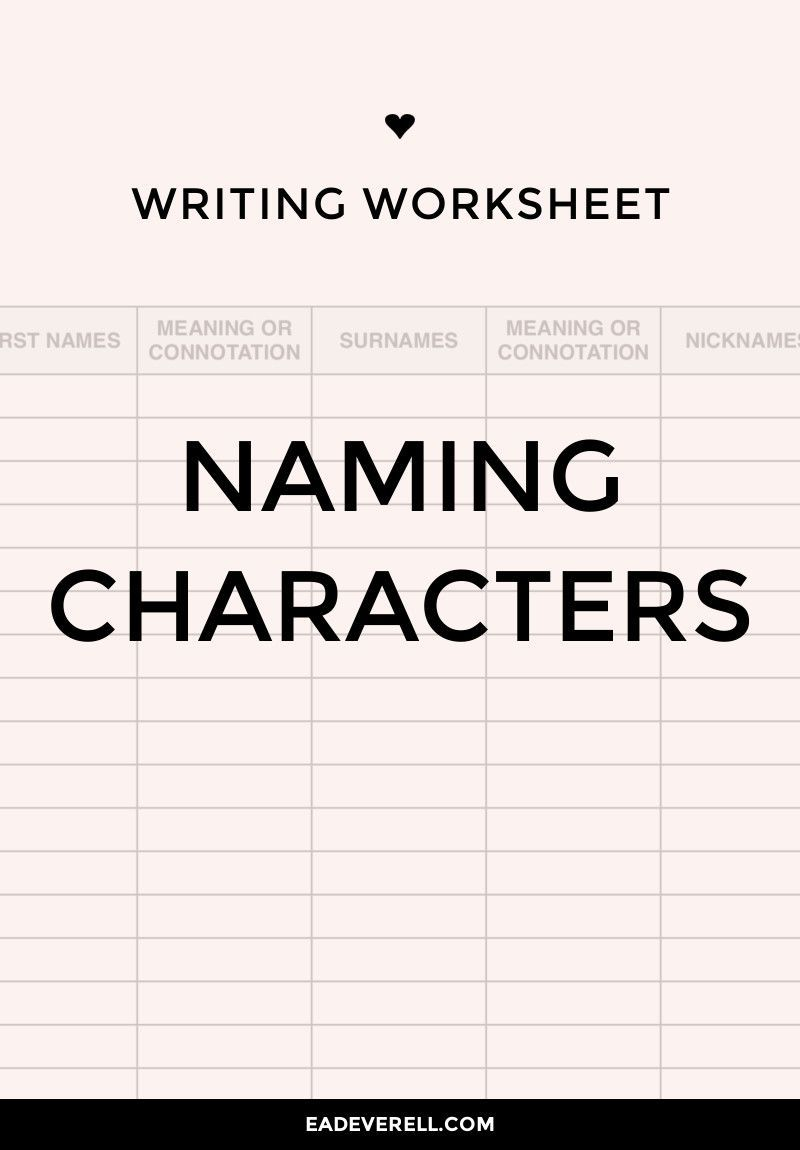 Characters Character Naming - Character names can be surprisingly useful for characterisation, worldbuilding, and even plotting – if you're enrolled in How to Be the Heroine of Your Own Story, be sure to read the textbook chapter titled, 'How to Discover Your (Character's) True Name'. If you need to set some naming conventions