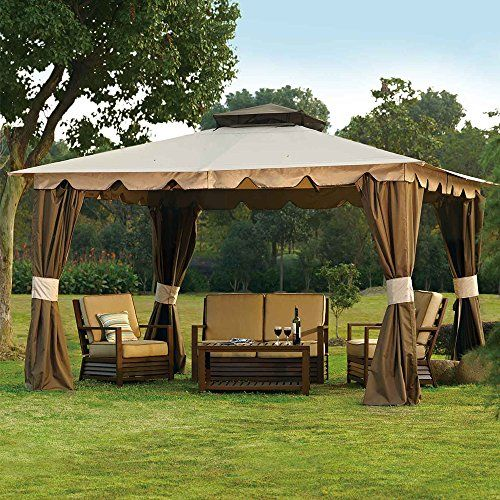 10 X 12 Hampton Gazebo Canopy W Mosquito Netting Privacy Panels
