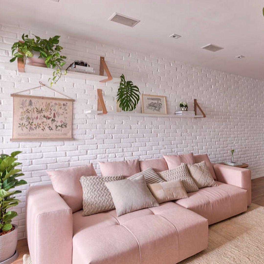 Parede de tijolinho sofá Rosa plants   Decoração sala ...