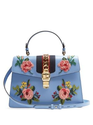 Sylvie Large Floral Applique Leather Shoulder Bag Gucci