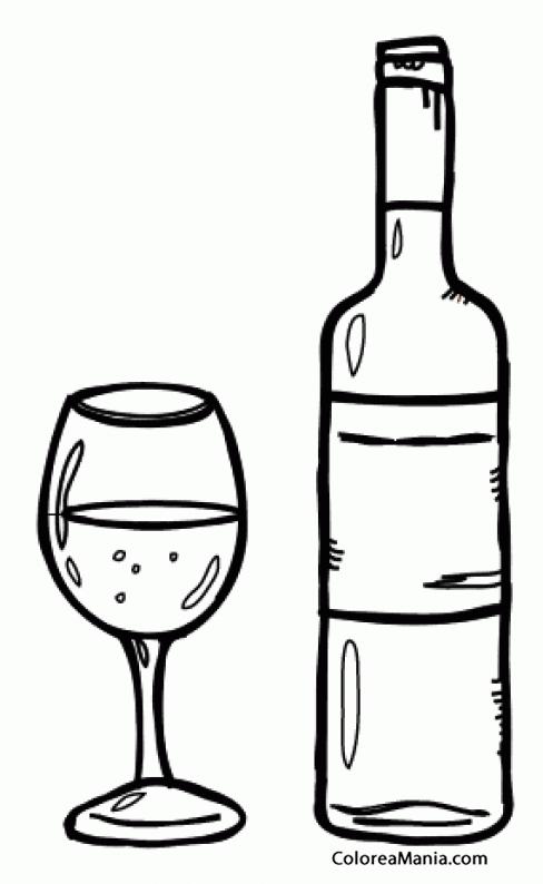 Colorear Botella Y Copa De Vino Bebidas Dibujo Para Colorear Gratis Imagenes De Vinos Copas De Vino Dibujos Para Colorear Gratis