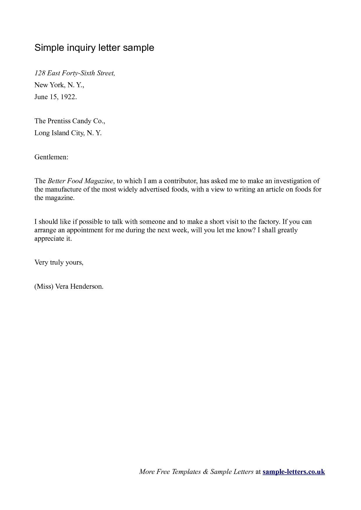 Business Letter Of Inquiry Sample The Letter Sample | Reading And
