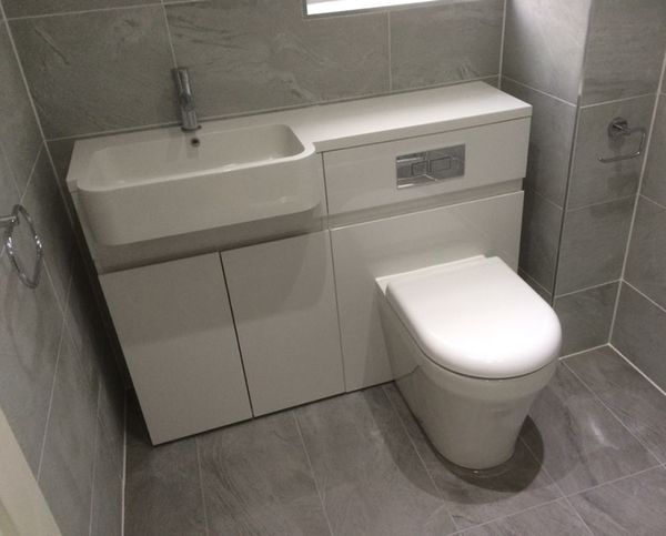 combined basin and toilet unit with bathroom installation in leeds