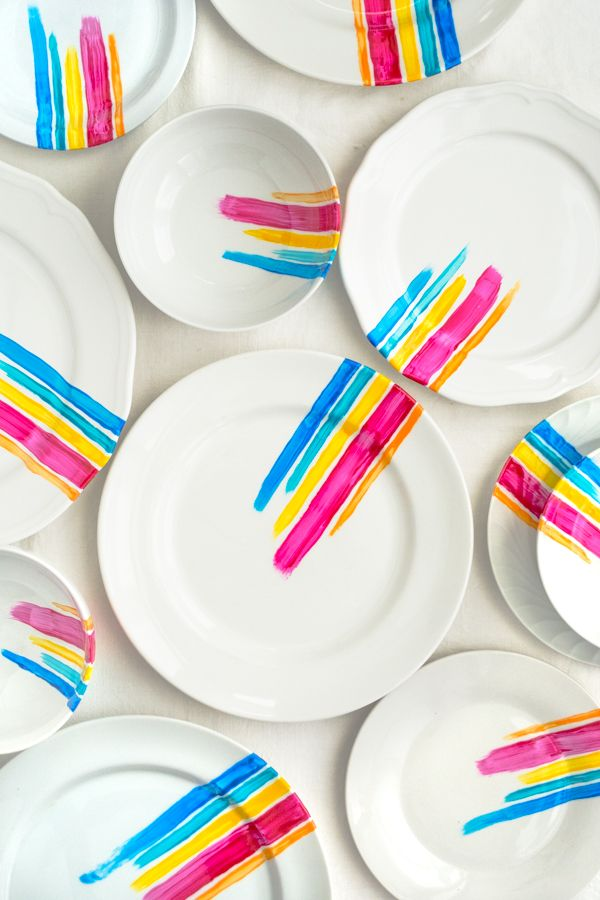 Painted Plate DIY - Make A Coordinated Set with Mismatched Dinnerware