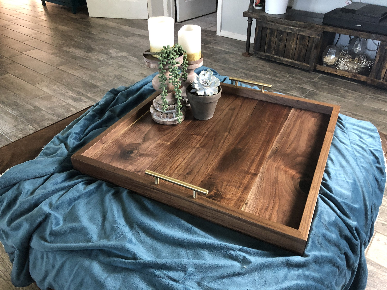 Solid Black Walnut Ottoman Tray Hardwood Ottoman Tray Etsy