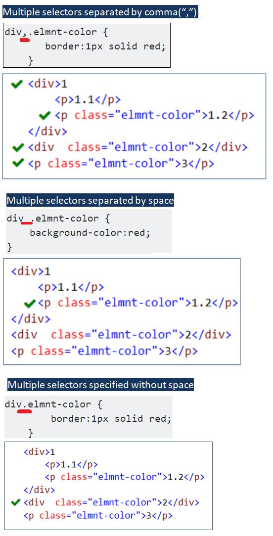 Css multiple classes comma