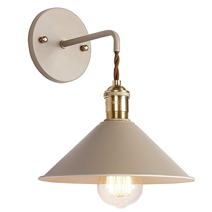Iyoee Wall Sconce Lamps Lighting Fixture With On Off Switch Khaki Macaron Wall Lamp E26 Edison Copper Lamp Holder With Fr Sconce Lamp Copper Lamps Lamp Holder
