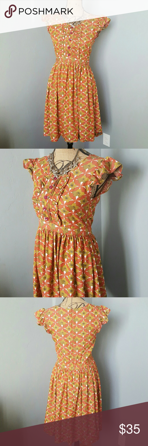 Matilda Jane Anthropologie Floral Dresz In great condition. Soft cotton. Floral patterned dress. Anthropologie  Dresses