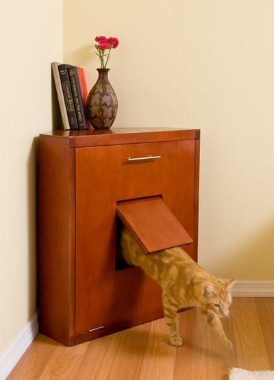 The Corner Litter Cabinet Is About As Refined As A Litter Box Can Be Pets Animals Petslady Com Pet Furniture Cat Furniture Diy Dog Crate