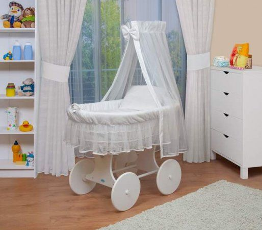 Waldin Veil Xxl Canopy White Wicker Crib White