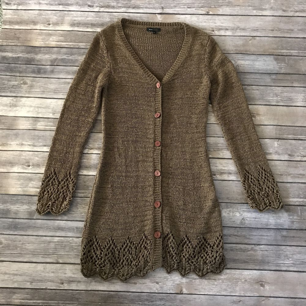 BCBG Max AZRIA Womens Long Brown Cardigan Sweater L #BCBGMAXAZRIA ...