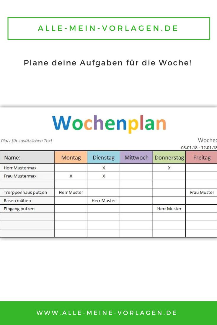 """Mit der kostenlosen Vorlage """"Wochenplan"""" kannst du deine Aufgaben ..."""