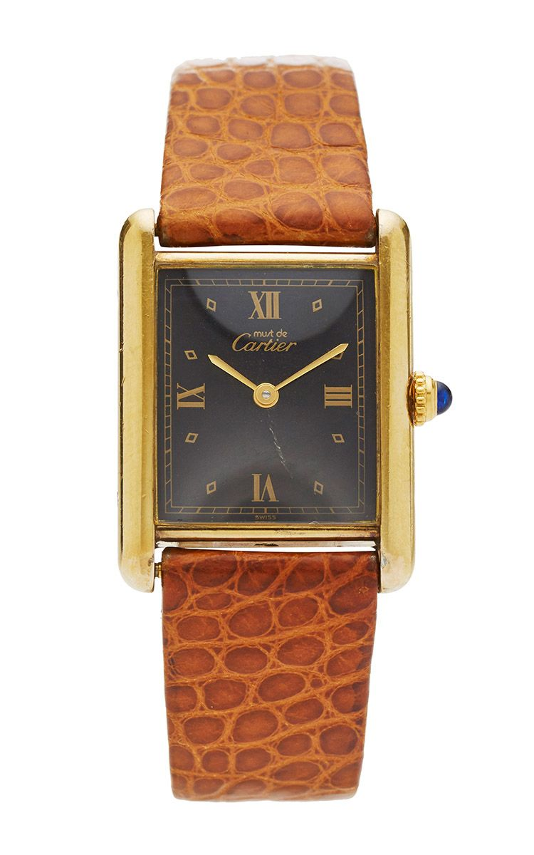 Vintage Cartier Vermeil Tank Anglaise With Black Dial From CMT by CMT Fine Watch and Jewelry Advisors for Preorder on Moda Operandi
