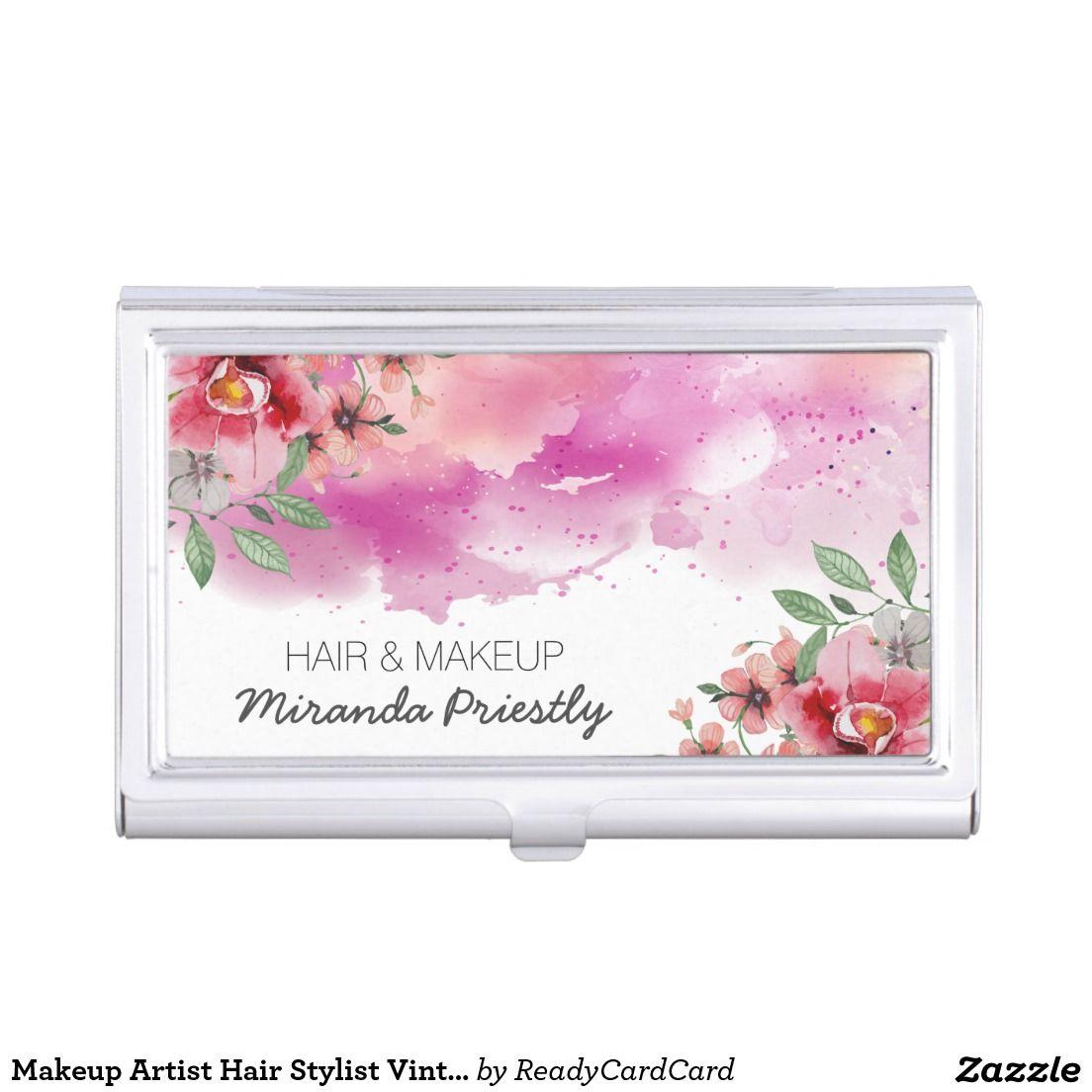 Makeup Artist Hair Stylist Vintage Floral Elegant Business Card Holder