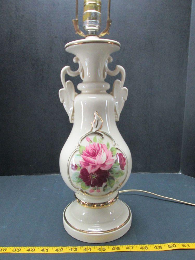 Vintage Floral Design Lamp With Gold Colored Trim Flowers Leaf Handles Finial Gs Vintage Floral Design Lamp Design Vintage Lamps