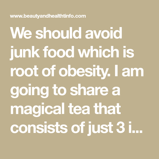 We Should Avoid Junk Food Which Is Root Of Obesity. I Am