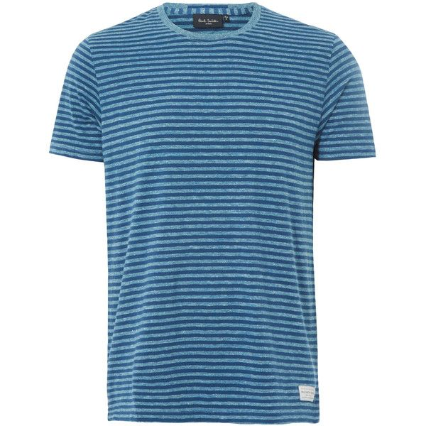 Paul Smith Jeans Blue Stripe Tee ($93) ❤ liked on Polyvore featuring men's fashion, men's clothing, men's shirts, men's t-shirts, mens blue shirt, j crew mens shirts, mens short sleeve woven shirts, mens striped shirt and mens crew neck t shirts