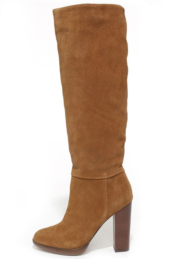 Tan Suede Leather Knee-High Boots