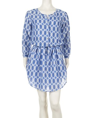 Boho Diamond Print Henley Dress - Create the easy elegance we love from Velvet by Graham & Spencer in this boho diamond print henley dress. Crafted from a nature blend of cotton and silk. The drawstring waist defines the figure.