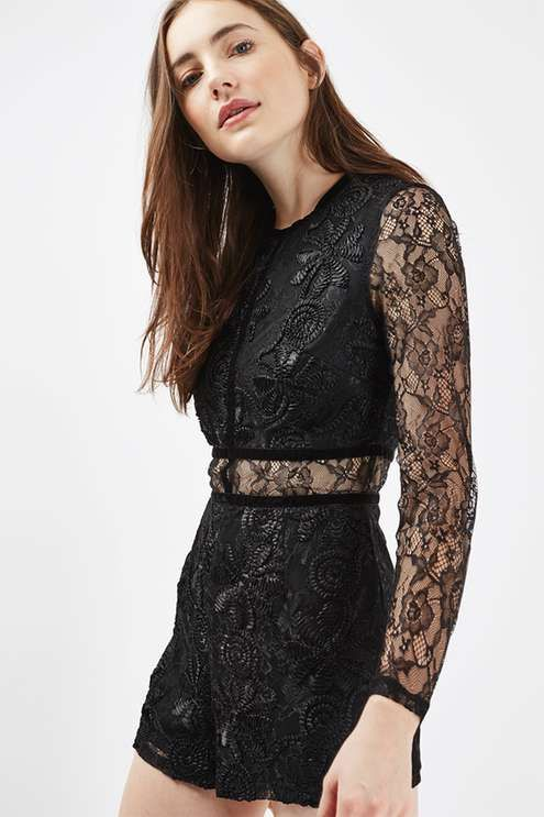 6f937311c649 This lace playsuit with velvet trimming is a versatile choice for party or  formal occasions. We love the sheerness to the sleeves and mini cut.   Topshop