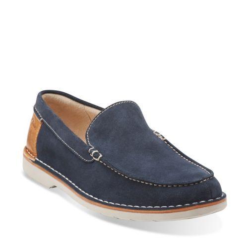 clarks men's blue loafers