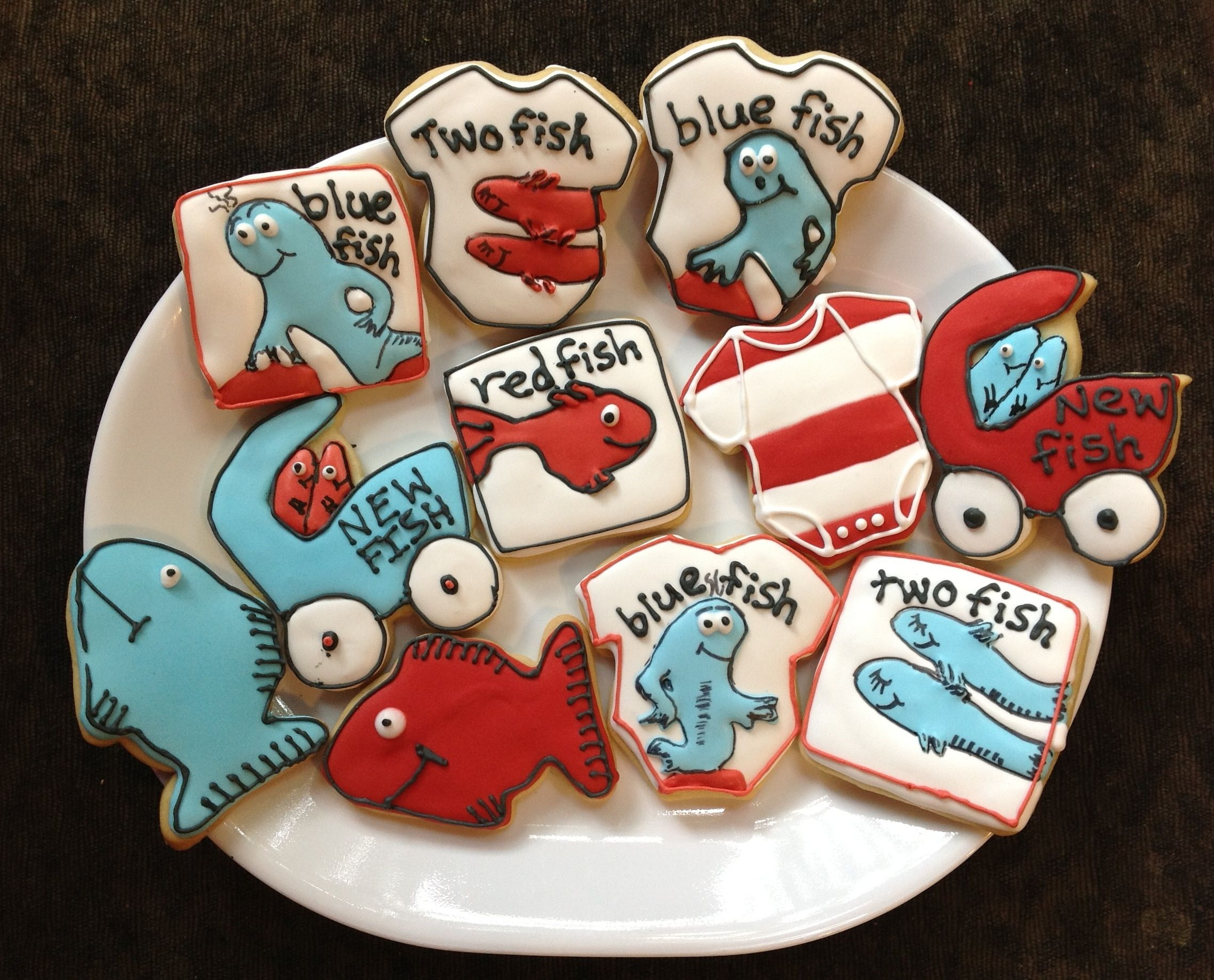 Dr Seuss baby shower decorated sugar cookies one fish two fish blue ...