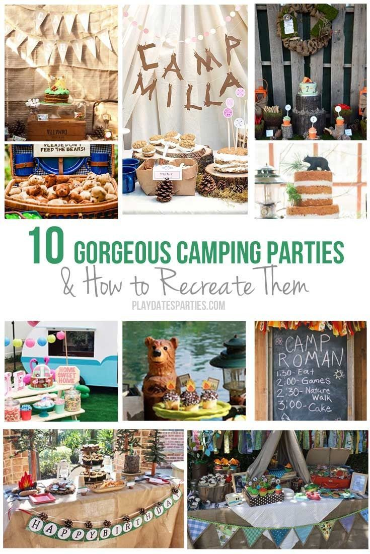 10 Gorgeous Camping Parties & How to Recreate Them http://playdatesparties.com/2016/07/the-best-camping-party-inspiration.html