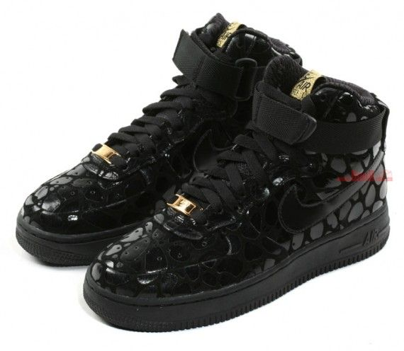 Nike WMNS Air Force 1 High Supreme , Black , Metallic Gold