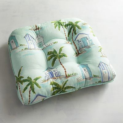 Beau Featuring Palm Trees And Beach Bungalows, Our UV Resistant By The Sea  Cushion Will Add A Coastal Attitude To Your Outdoor Furniture.