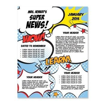 Classroom Newsletter Template - Superhero Newsletter MS Word - ms word newsletter templates