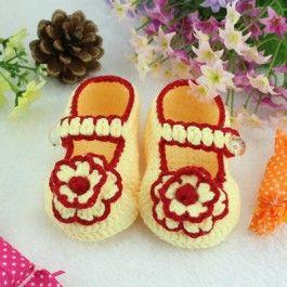 Handmade Crochet Baby Booties in yellow $9.99