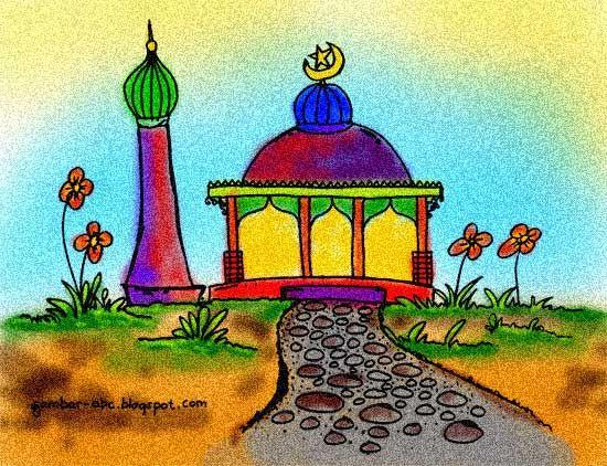 Gambar Mewarnai Masjid Dengan Gambar Kartun Gambar Warna