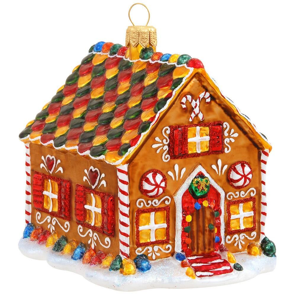 gingerbread house ornament template  7 Annual Form Gingerbread House Glass Ornament in 7 ...