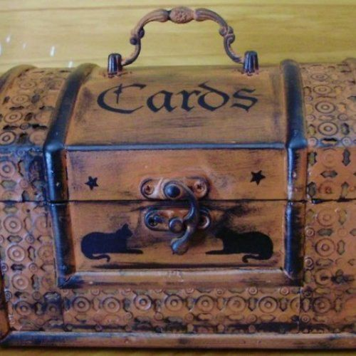 Goth witchcraft Primitive Tarot Cards Purse Chest Box large - large halloween decorations
