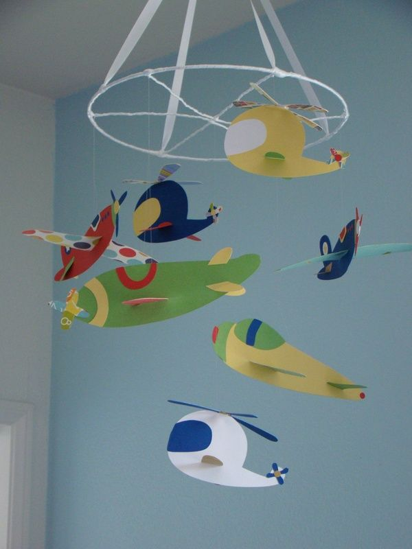 Airplane Helicopter Baby Mobile Ceiling Hanging Photography Prop 75 00 Via Etsy Boy S Nursery