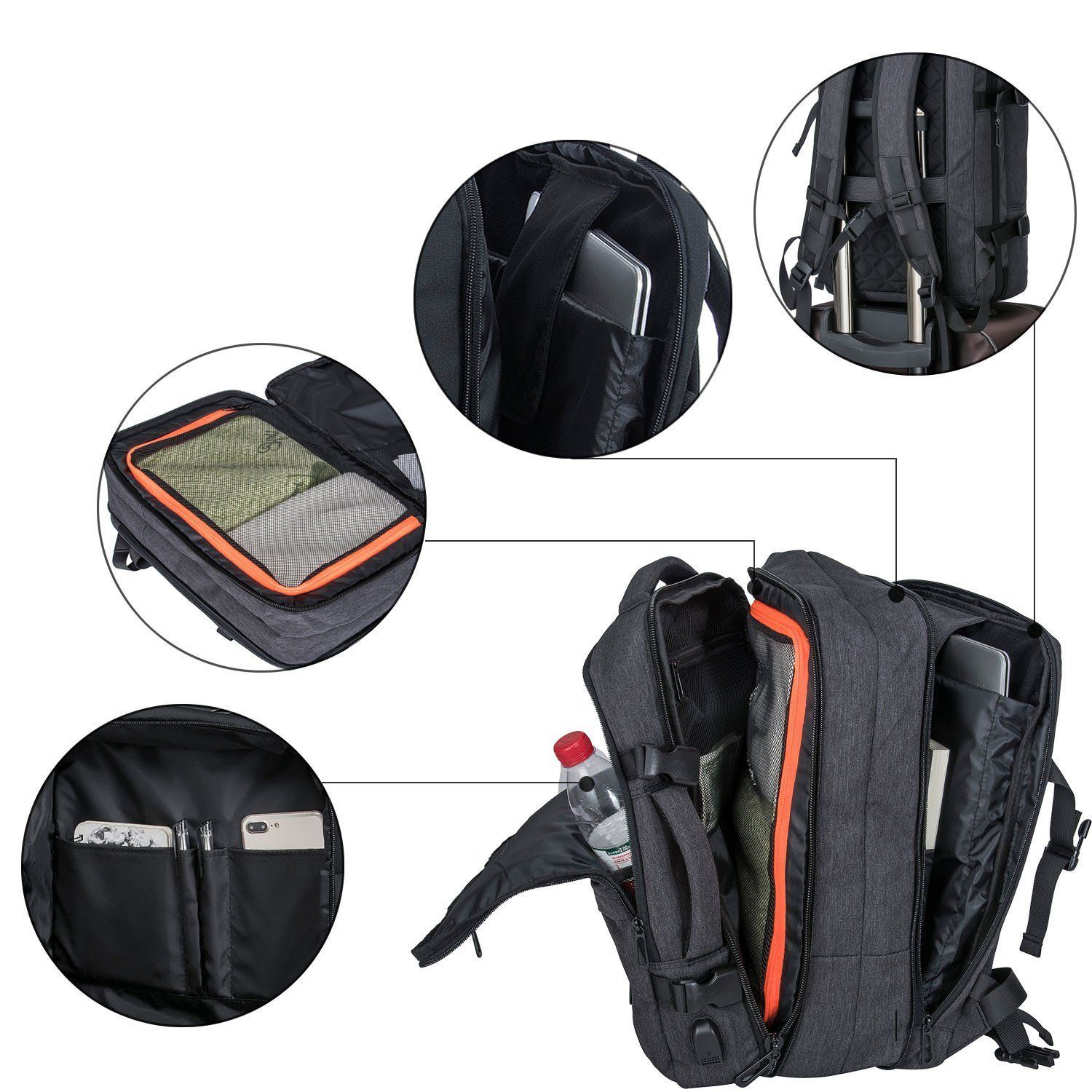 Water Resistant Travel Backpack 35L Flight Approved Carry on Backpack Black