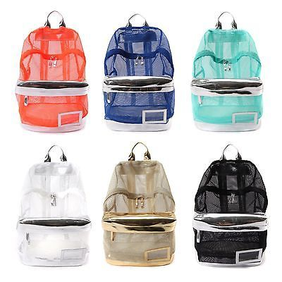 New Fashion See Through Mesh Backpack Rucksack Campus School Book Bag Women Girl